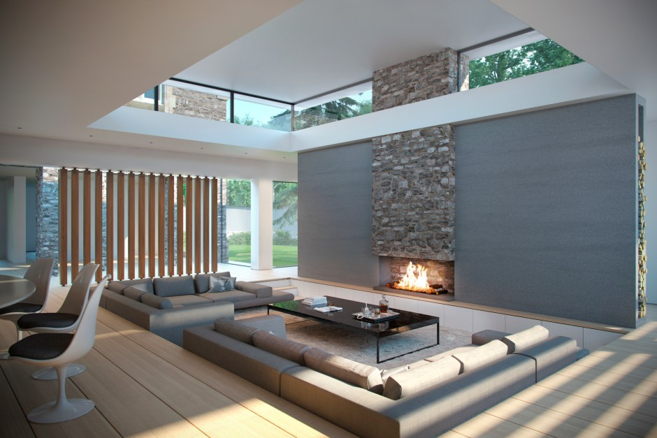 Interior visulisation showing the sunken seating area and fireplace