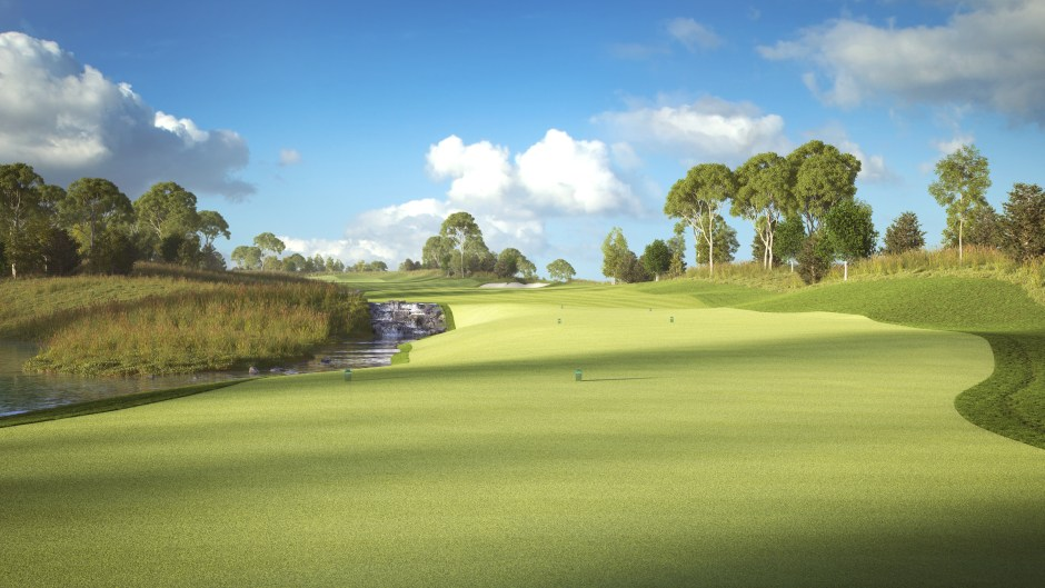 Visualisation of the tees on hole 2 at Pacific Links National Golf Club