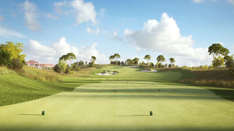 Visualisation of the tees on hole 9 at Pacific Links National Golf Club