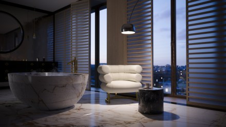 Architectural visualisation showing the bathroom at dusk