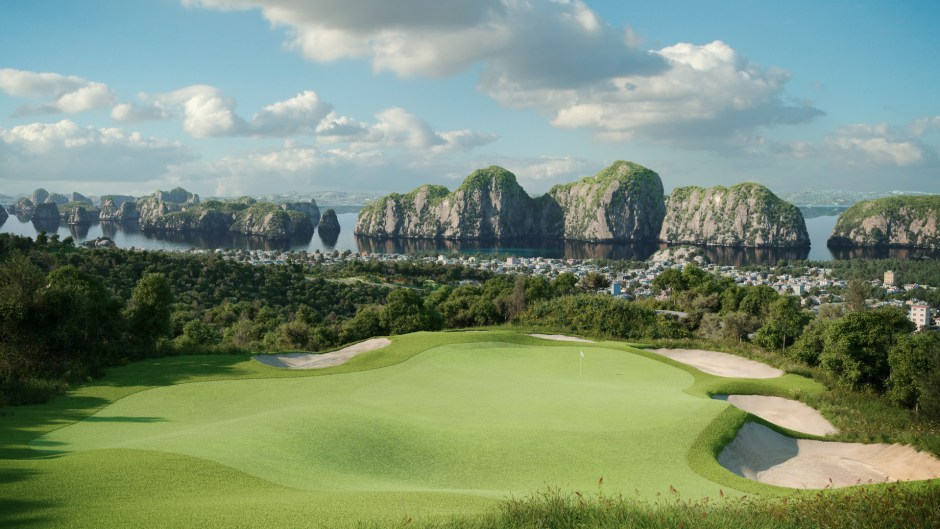 A view from the front tees on the 8th hole at Ha Long Bay Golf Couse.
