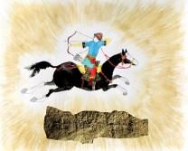 horseman drawing his bow