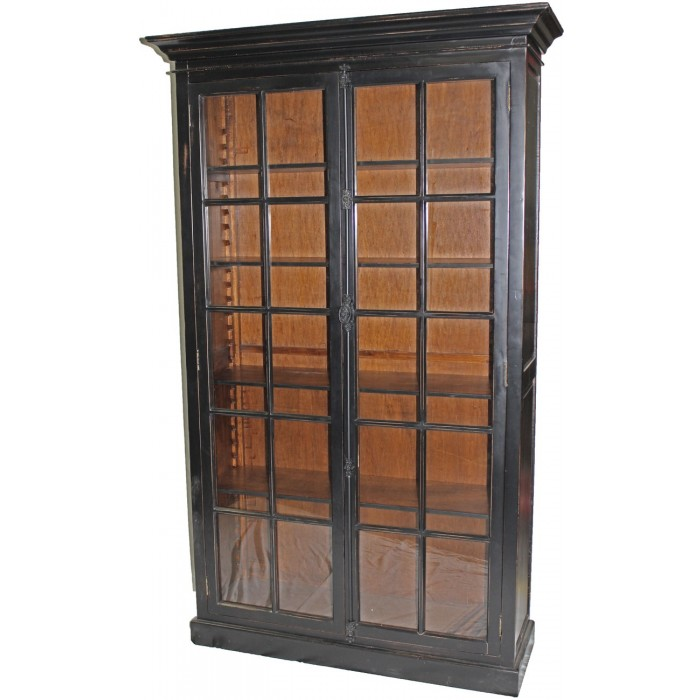 Black Bookcase With Glass Doors H055