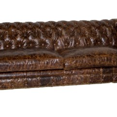 Leather Sectional Sofa Tufted Brown Chesterfield Style Is215 3