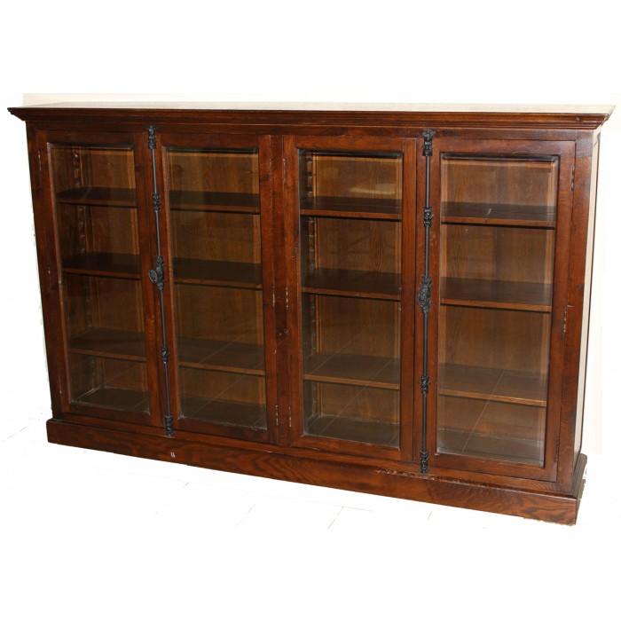Bookcase W 4 Doors H 058 1 Brown Distressed Black Or
