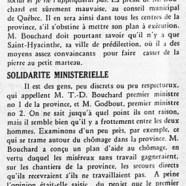 «M. Bouchard et le chômage; Solidarité ministérielle»