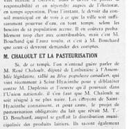 «Le problème de l'eau; M. Chaloult et la pasteurisation»