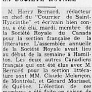 «M. Harry Bernard à la Société royale»