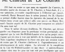 """«M. Chartier lit """"Le Courrier""""»"""