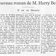 «Le nouveau roman de M. Harry Bernard»