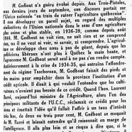 «M. Adélard Godbout et l'agriculture»
