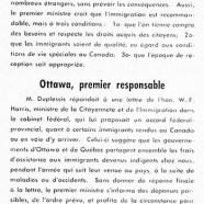 «Maurice Duplessis et l'immigration; Ottawa premier responsable»