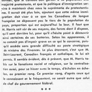 «De M. Walter Harris, ministre des finances à Ottawa»