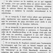 «M. Jean Lesage et la constitution, hier et aujourd'hui»