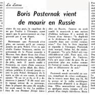 «Boris Pasternak vient de mourir en Russie»