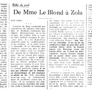 «De Mme Le Blond à Zola»