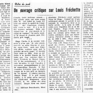 «Un ouvrage critique sur Louis Fréchette»