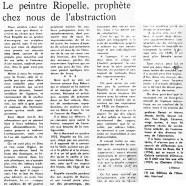 «Le peintre Riopelle, prophète chez nous de l'abstraction»