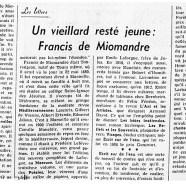 «Un vieillard resté jeune : Francis de Miomandre»