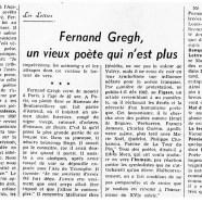 «Fernand Gregh, un vieux poète qui n'est plus»