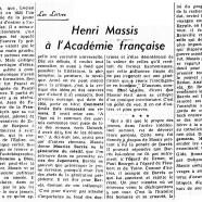 «Henri Massis à l'Académie française»