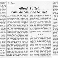 «Alfred Tattet, l'ami de coeur de Musset»