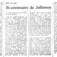 «Bi-centenaire de Jefferson»