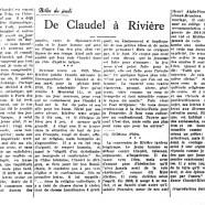 «De Claudel à Rivière»