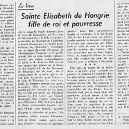 «Sainte Élizabeth de Hongrie : fille de roi et pauvresse»