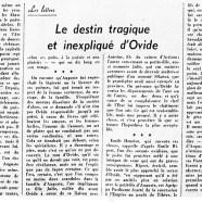 «Le destin tragique et inexpliqué d'Ovide»