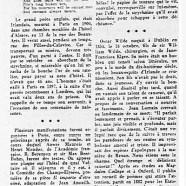 «Centenaire d'Oscar Wilde, poète anglais mort à Paris»