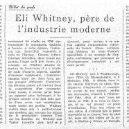 «Eli Whitney, père de l'industrie moderne»