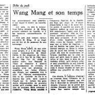«Wang Mang et son temps»