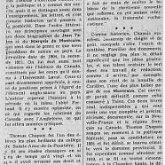 «Le centenaire de naissance de Thomas Chapais»
