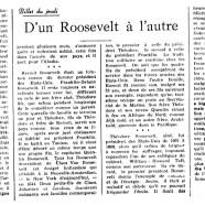 «D'un Roosevelt à l'autre»