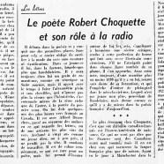 «Le poète Robert Choquette et son rôle à la radio»