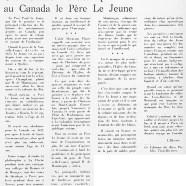 «Cet homme d'action que fut au Canada le Père Le Jeune»