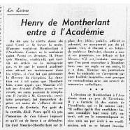 «Henry de Montherlant entre à l'Académie»