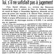 «La prison pour Gérard Filion. L'honorable Johnson la demande pour lui, s'il ne satisfait pas à jugement»