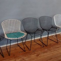 Bertoia Wire Chair Original Wedding Cover Hire South Yorkshire Id Chairs Harry Foundation Photo 5 From Left 1953 Double Edge Two Tone Thick Plastic With Seat Pad Early Black Thin Another