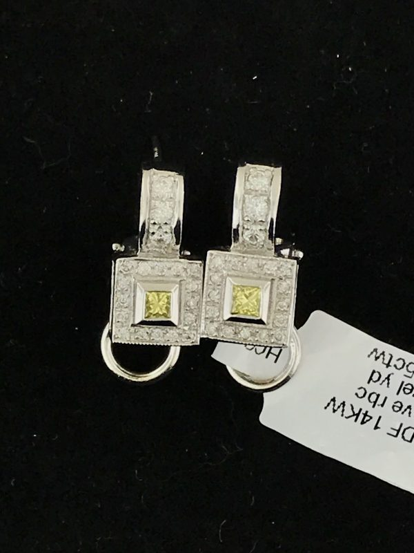 Harry Glinberg Jewelers - 14K White Gold and Diamond Earrings