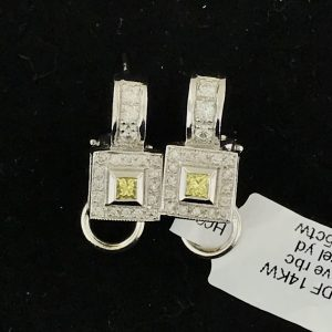 Harry Glinberg Jewelers - 14K White Gold and Diamond Earrings