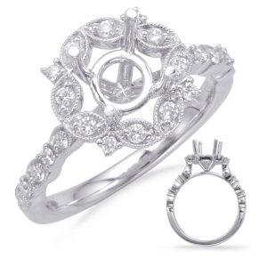 Harry Glinberg Jewelers - WHITE GOLD HALO ENGAGEMENT RING