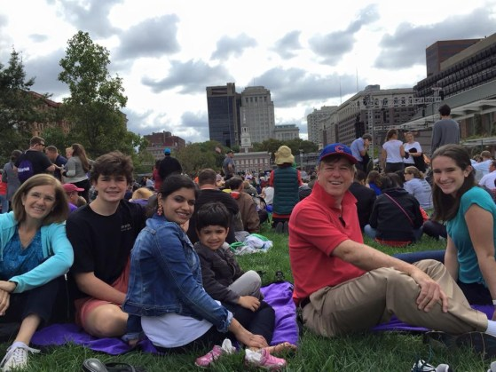 Waiting for Pope Francis at Independence Hall in Philadelphia