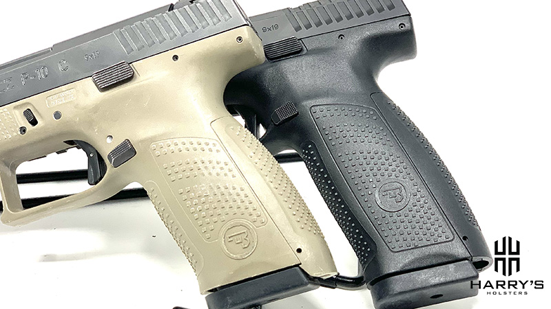 Photo of the CZ P10f and CZ P10c side by side