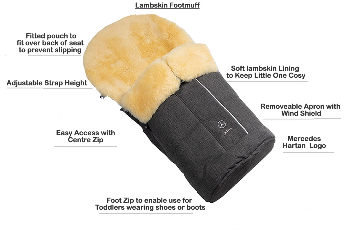 Hartan Mercedes-Benz lambskin footmuff features