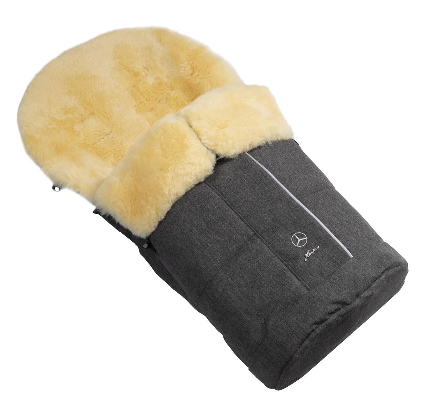 Hartan Mercedes-Benz lambskin footmuff in Deep Sea