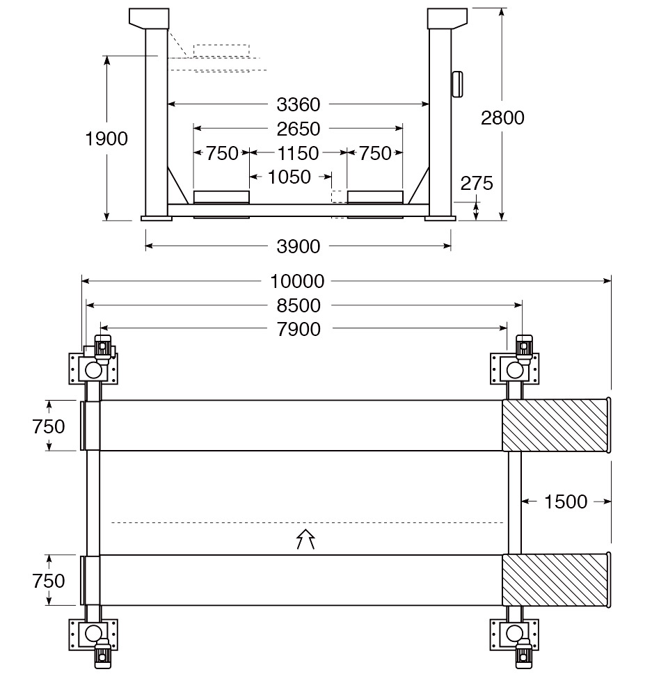 hight resolution of 4 post hoist technical and structural layout