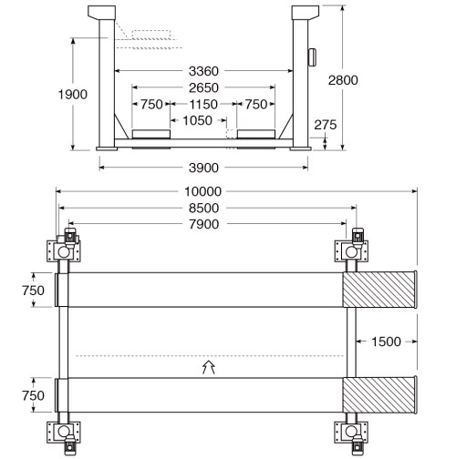 small resolution of 4 post hoist technical and structural layout