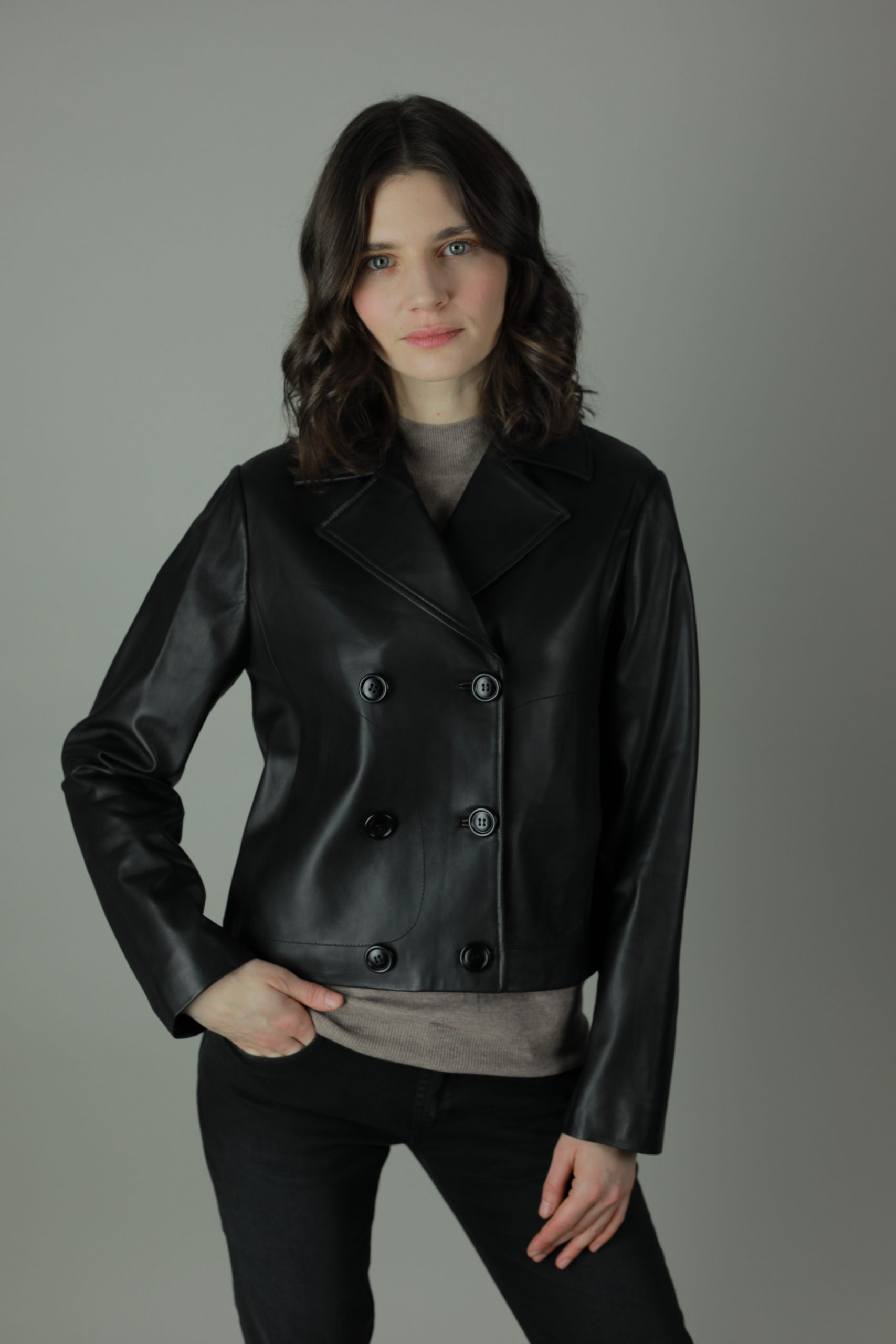 Reminisce. The Cait is the ultimate old school biker jacket to pair with jeans and a T or a dress and heels. Expertly crafted from smooth leather, The Cait has a minimal design and features for a fresh and understated look.